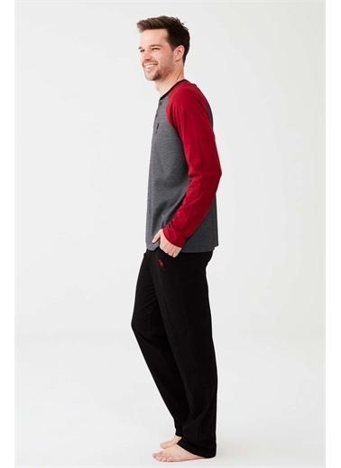 U.S. Polo Assn. U.S. Polo Assn. Erkek Bordo Patlı Pijama Takım Bordo
